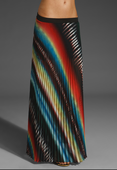 We love the eye-catching rainbow pleats on this maxi.  Monrow Pleated Maxi Skirt in Black Multi ($130)