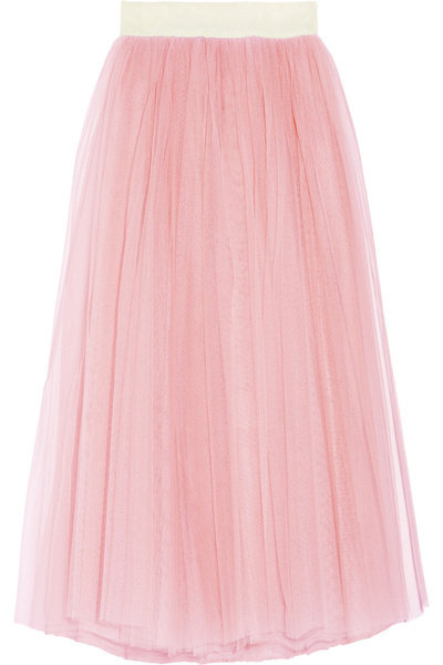 Romantic light pink tulle creates a ballerina silhouette that can be dressed up for evening occasions or paired with black leather accessories for a tougher look. D&G Tulle Maxi Skirt ($750)