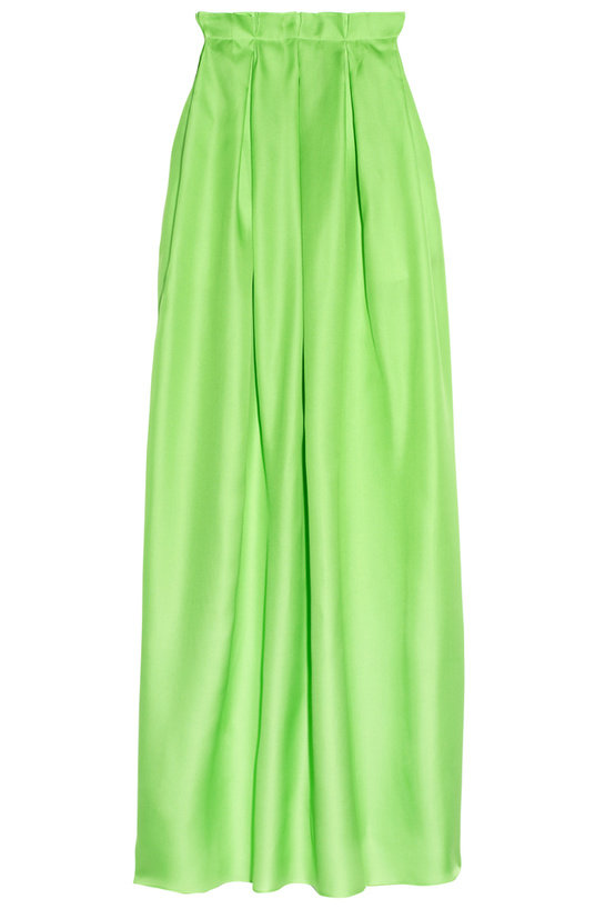 A modern, effortless cut, wear this neon lime maxi with a neutral top and sandals for a cool daytime look. Roksanda Ilincic Silk-Gazar Maxi Skirt ($1,215)