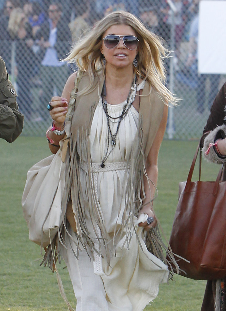 Fergie gave us a full bohemian-chic look at Coachella, layering her tribal chains over a floaty sundress.