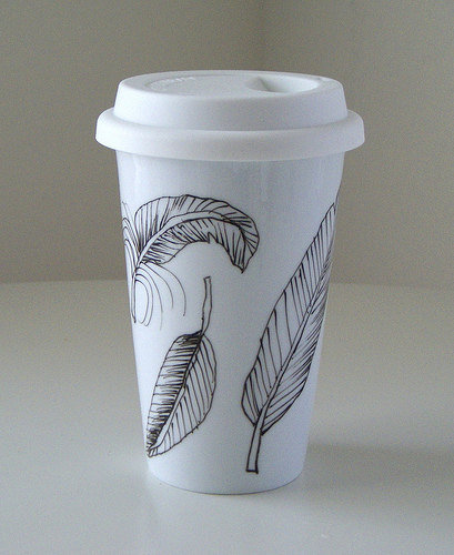 Ceramic Feather Coffee Tumbler