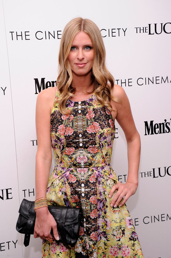Nicky Hilton wore a patterned Topshop dress to the Cinema Society and Men's Health screening of The Lucky One in NYC.