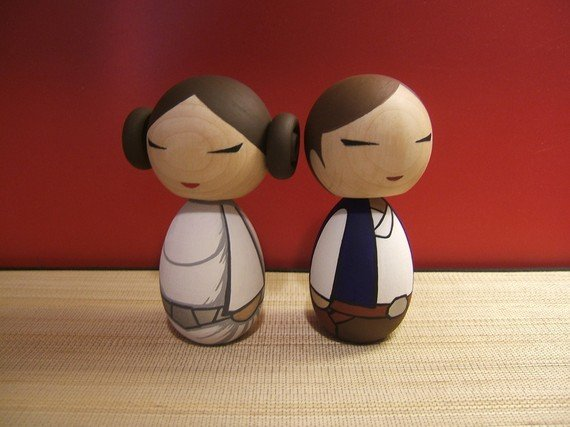 These hand-painted Han and Leia Kokeshi dolls ($65) will make a beautiful addition to your bookshelf post-wedding.
