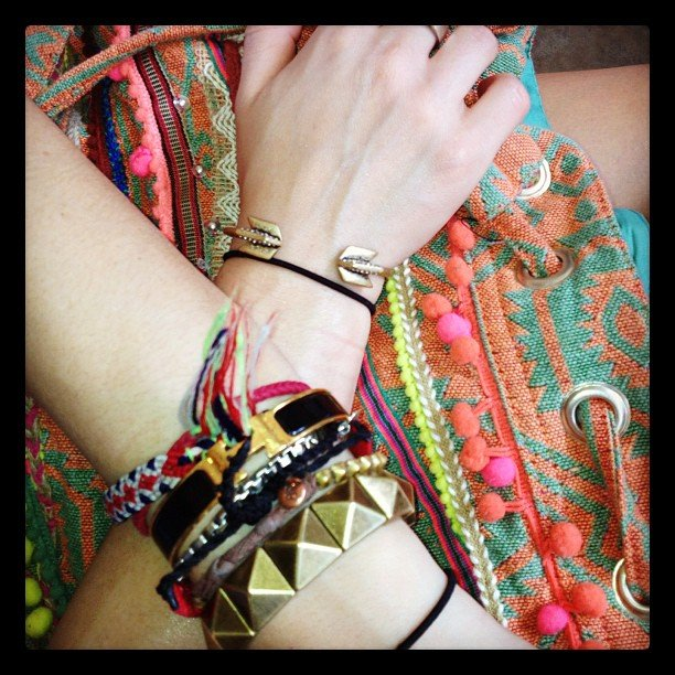 On our way to Coachella — with all the necessary arm candy!