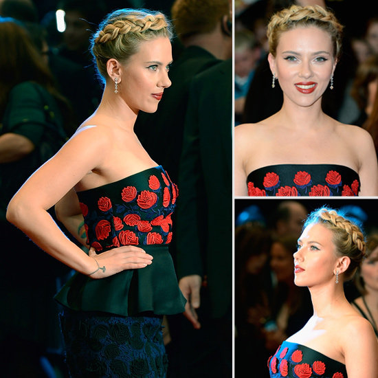 Scarlett Johansson Tries a Braided Hairstyle for The Avengers Premiere in London