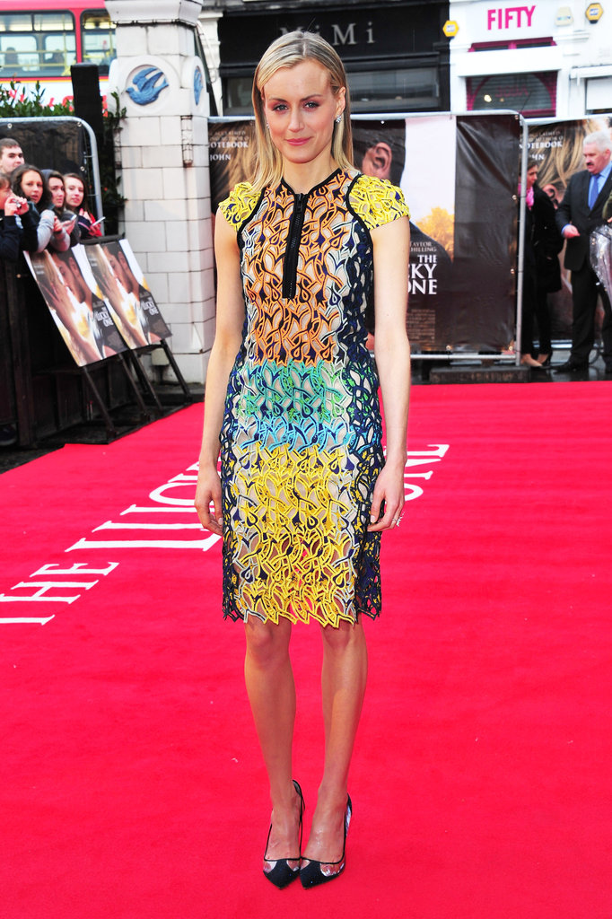 Taylor Schilling wore a multicolored dress to the European premiere of The Lucky One.