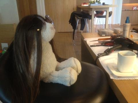 Victoria Beckham accessorized a stuffed bunny. Source: Twitter user victoriabeckham