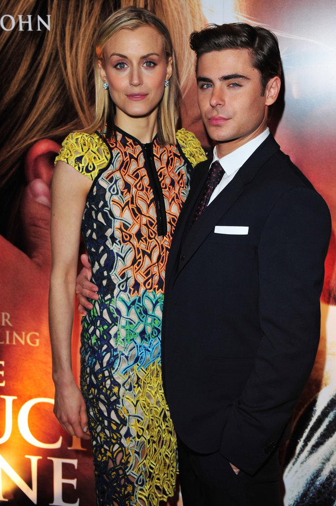 Zac Efron and Taylor Schilling posed at the premiere of The Lucky One in London.