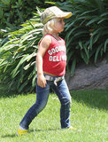Zuma Rossdale played outside before heading to a birthday party with mom Gwen Stefani.