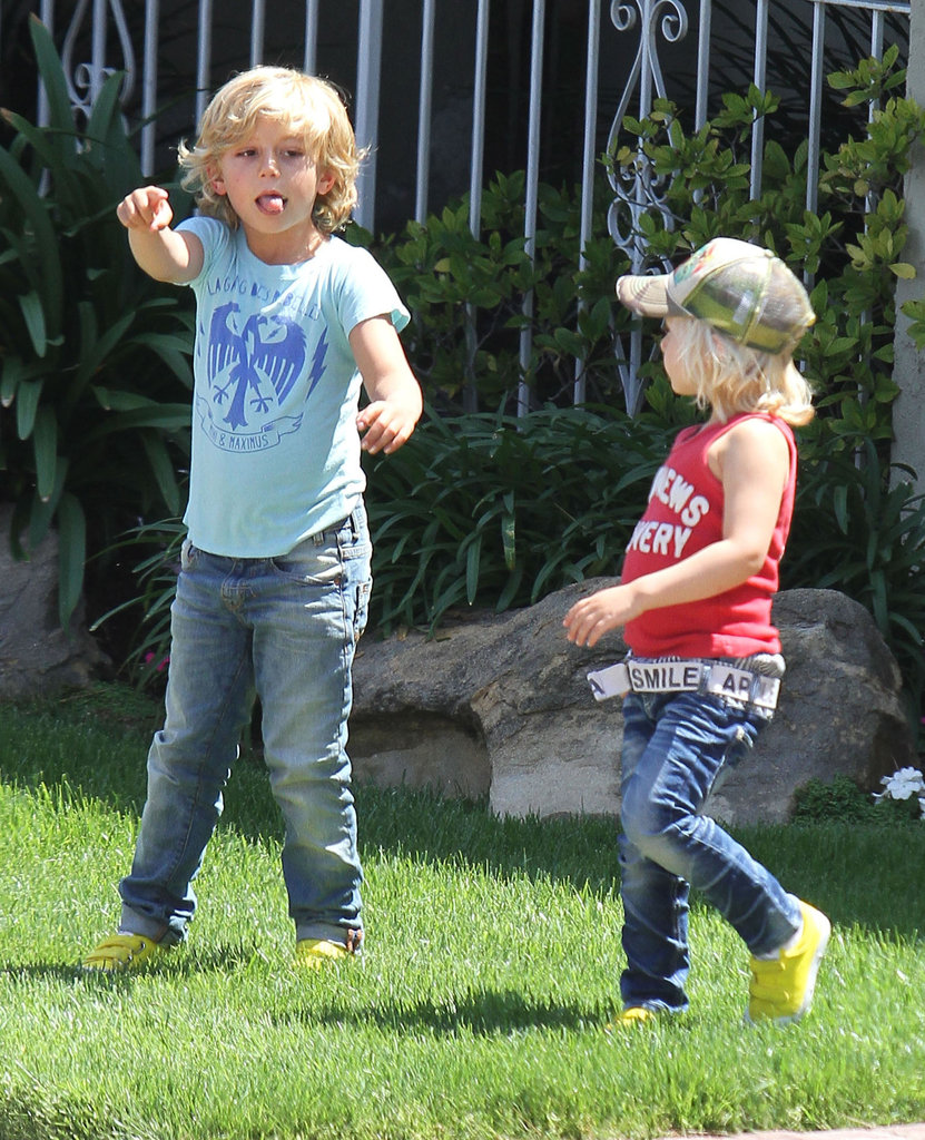 Zuma Rossdale and Kingston Rossdale played make believe outside before heading to a birthday party with mom Gwen Stefani.
