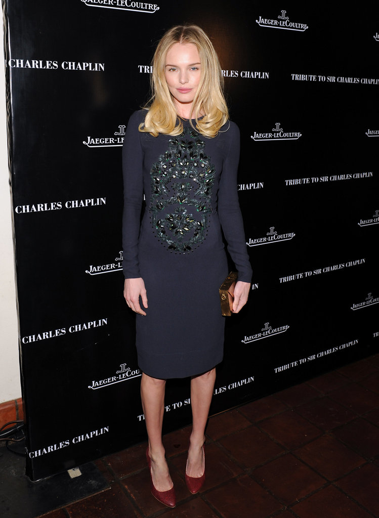 Kate Bosworth added interest to her Stella McCartney sheath with a pair of exotic red pumps.