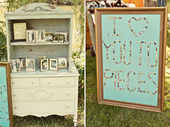 "Let your favorite hobbies inspire the wedding decor. Love doing puzzles together? Turn one of your jigsaws into an ""I Love You to Pieces"" sign. Source: Ashley Maxwell Photo via Green Wedding Shoes"