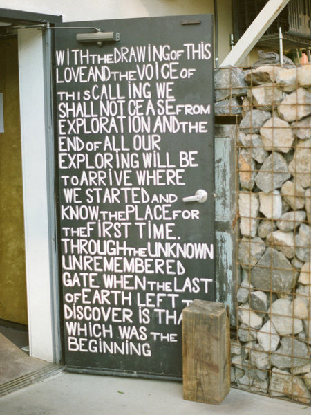 Write one of your favorite quotes on an old door for a personal, attention-grabbing detail your guests will remember. Source: Matt Edge Weddings via Style Me Pretty