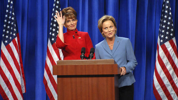Tina Fey and Amy Poehler as Sarah Palin and Hillary Clinton on Saturday Night Live