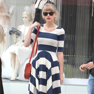 Taylor Swift Striped Dress Tan Shoulder Bag