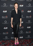 Coco Rocha wore bright pink heels with black leather pants to the New York premiere of Bernie.
