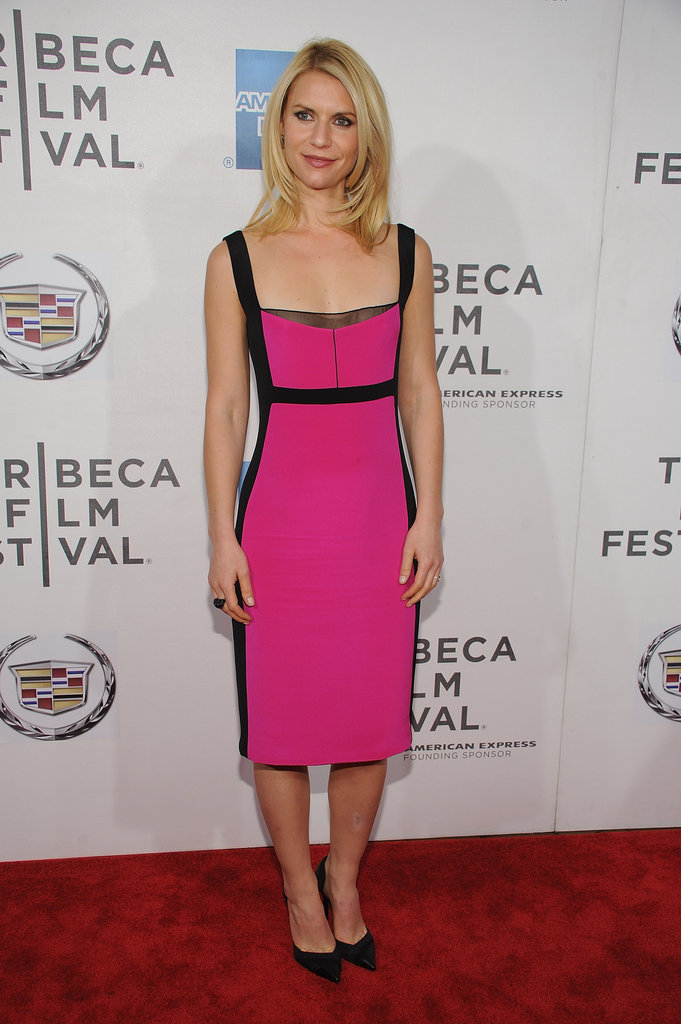 Claire Danes looked fashionable in a Narciso Rodriguez bold pink dress with black accents for the premiere of Hysteria at the 2012 Tribeca Film Festival.