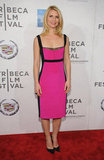 Claire Danes paired a pink Narciso Rodriguez dress with black heels for the premiere of Hysteria at the 2012 Tribeca Film Festival.