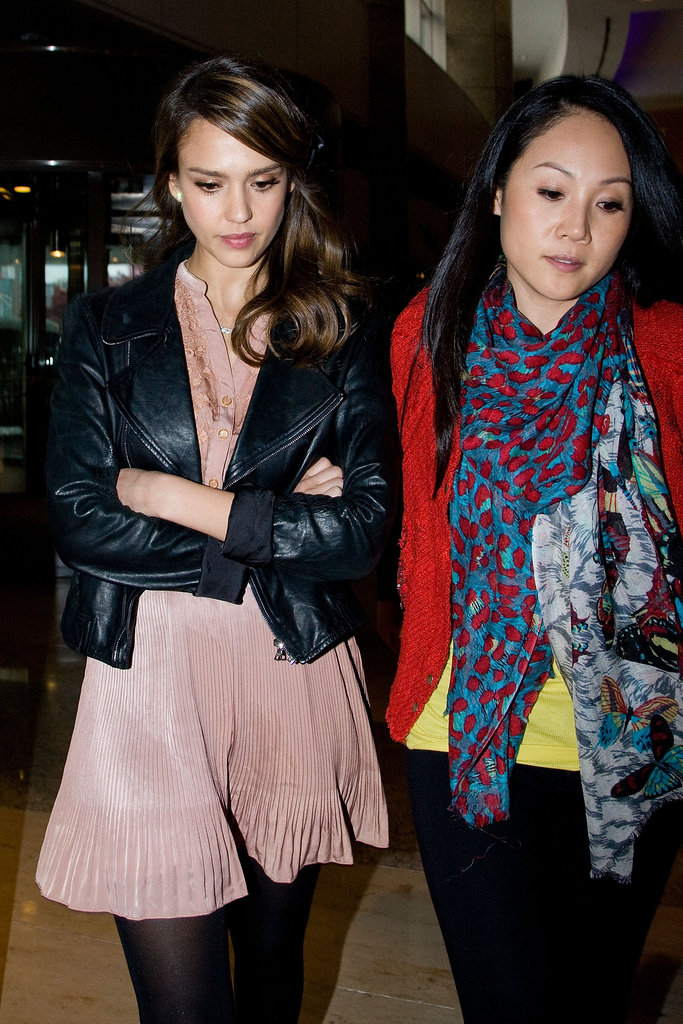 Jessica Alba arrived in South Korea in pink and leather.