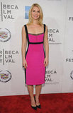 Claire Danes wore a bold pink Narciso Rodriguez number to the premiere of Hysteria at the 2012 Tribeca Film Festival.