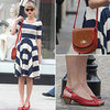 Taylor Swift Striped Dress April 2012