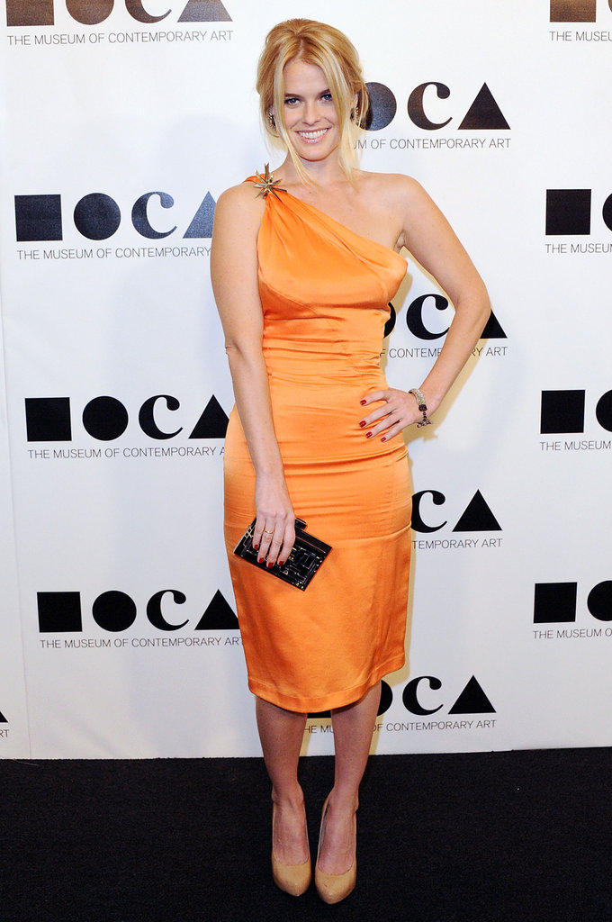 A citrus-hued one-shoulder confection at the 2011 MOCA Gala.