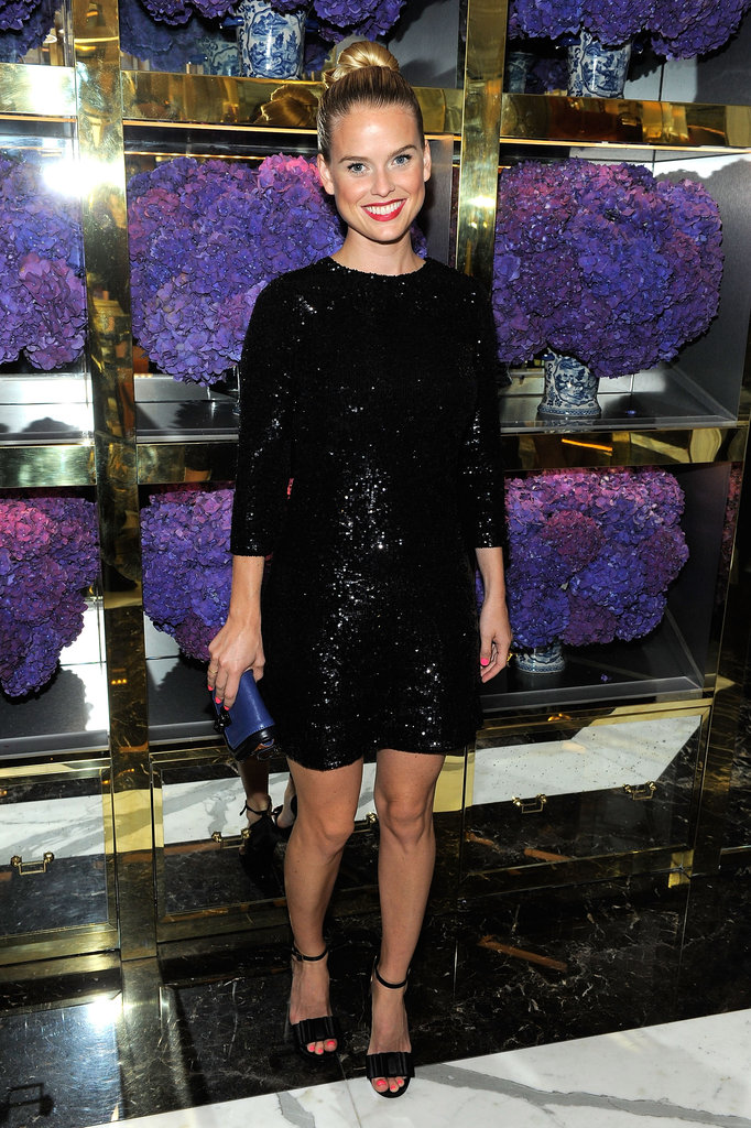 The chicest kind of sparkle in a sequined black sheath at Tory Burch's Madison Ave. store opening in September 2011.