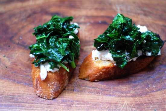 Sauted Kale and Burrata Bruschetta