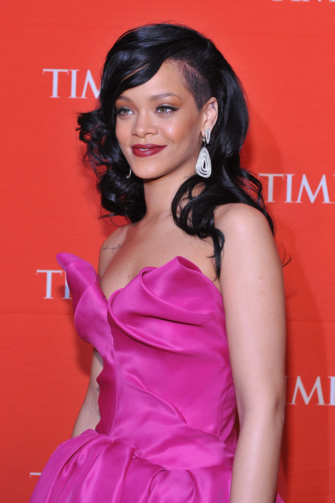 Rihanna wore a bright pink Marchesa gown to the Time 100 gala in NYC.