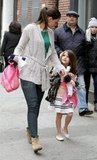 Katie Holmes and Suri Cruise walked through Tribeca.
