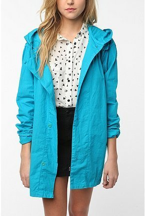 This bright blue jacket would look great over a floral sundress.  Urban Renewal Oversized Swedish Jacket ($39)
