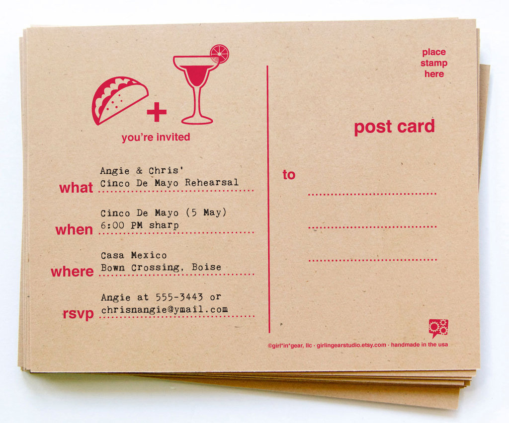 Simple and straight to the point, these Cinco de Mayo Postcard Invitations ($20 for 20) are both charming and eco-friendly. Printed on recycled kraft stock, the postcards can be customized with the font color of your choice.