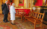 On April 18, Queen Elizabeth II was presented with two park benches to mark her Diamond Jubilee in the Scarlet Drawing Room during a reception for members of the Royal Engineers Association at Windsor Castle.