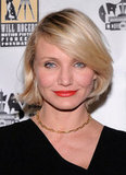 Cameron Diaz donned some bright lips at CinemaCon in Las Vegas.