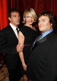 Cameron Diaz posed between Jack Black and Antonio Banderas at a dinner honoring Jeffrey Katzenberg at CinemaCon in Las Vegas.