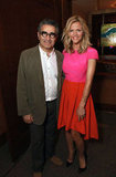 Brooklyn Decker wore a colorblocking number while she posed with Eugene Levy at CinemaCon in Las Vegas.