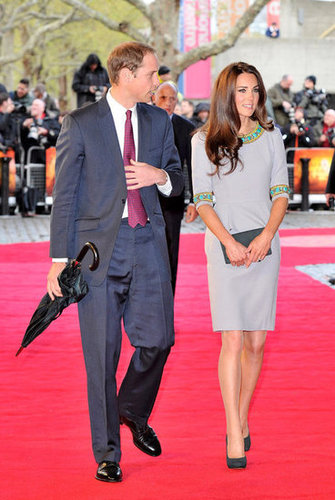 Kate Middleton and her husband, Prince William, were together in rainy London this week to check out the premiere of African Cats, which was held to benefit the Aid of Tusk charity. She wore a gray number from British designer Matthew Williamson.