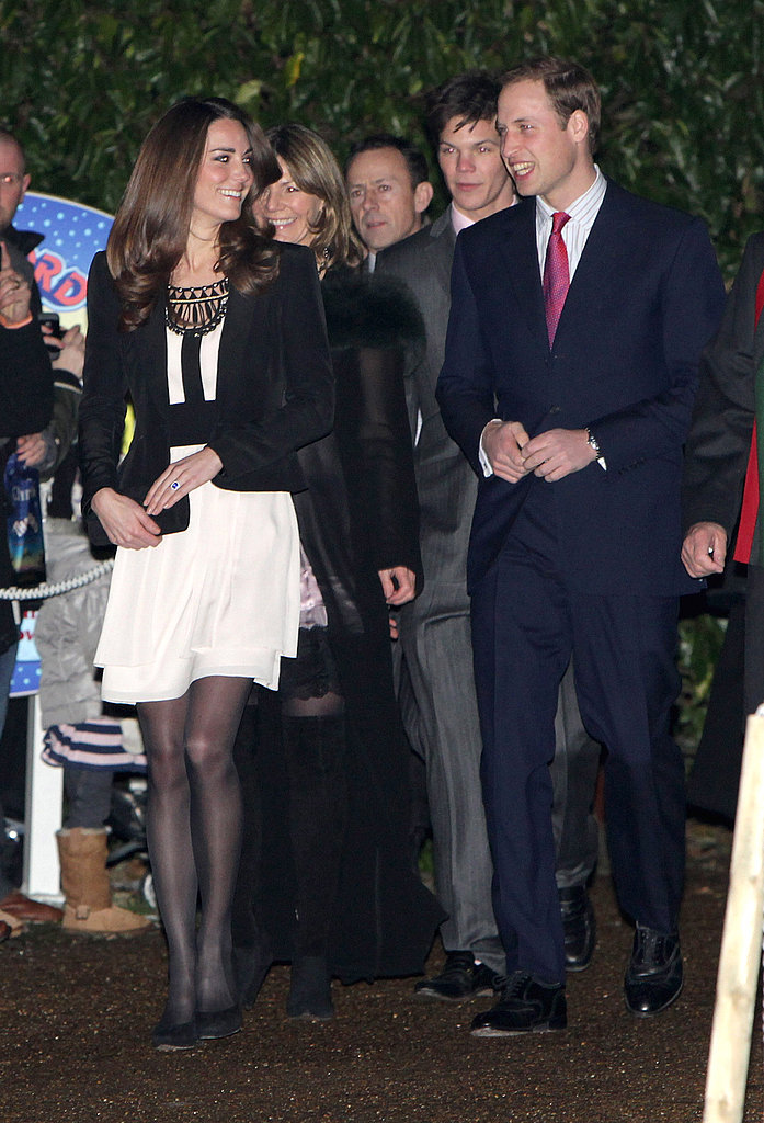 Kate Middleton chose a Temperley London cream and black dress for a Christmas reception.