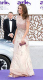 Kate turned heads in a Jenny Packham gown at the June 2011 ARK 10th anniversary gala in London.