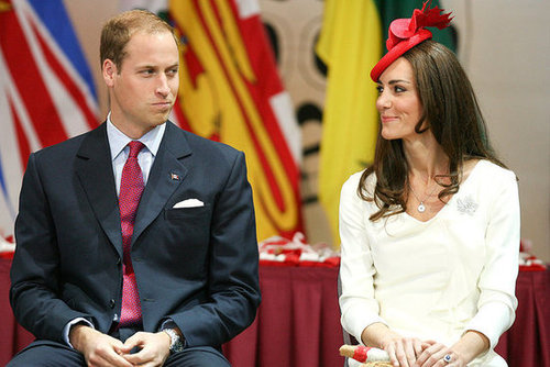 The couple exchanged cute glances during an engagement in Canada in July 2011.