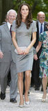 Even though this gray Catherine Walker dress is supersimple, Kate dressed up the look with sparkly heels and cool details.