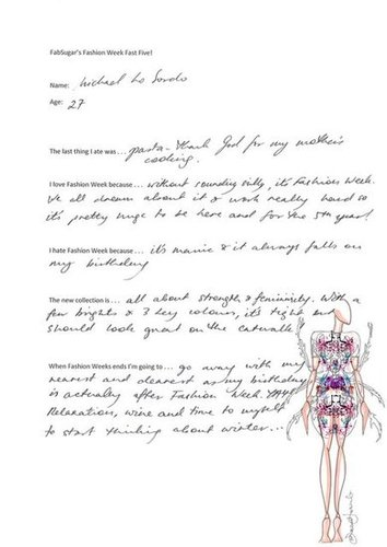 Michael Lo Sordo Fills Out Our Exclusive Pre-Fashion Week Survey: See His Hand Written Responses
