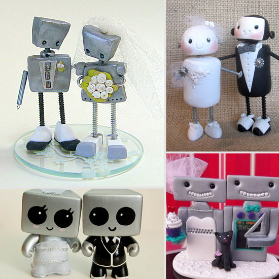 Mr. and Mrs. Roboto Wedding Cake Toppers