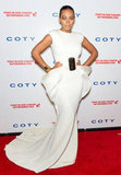 Solange Knowles made a dramatic arrival in a white Stéphane Rolland gown with sculptural detailing at the hip.