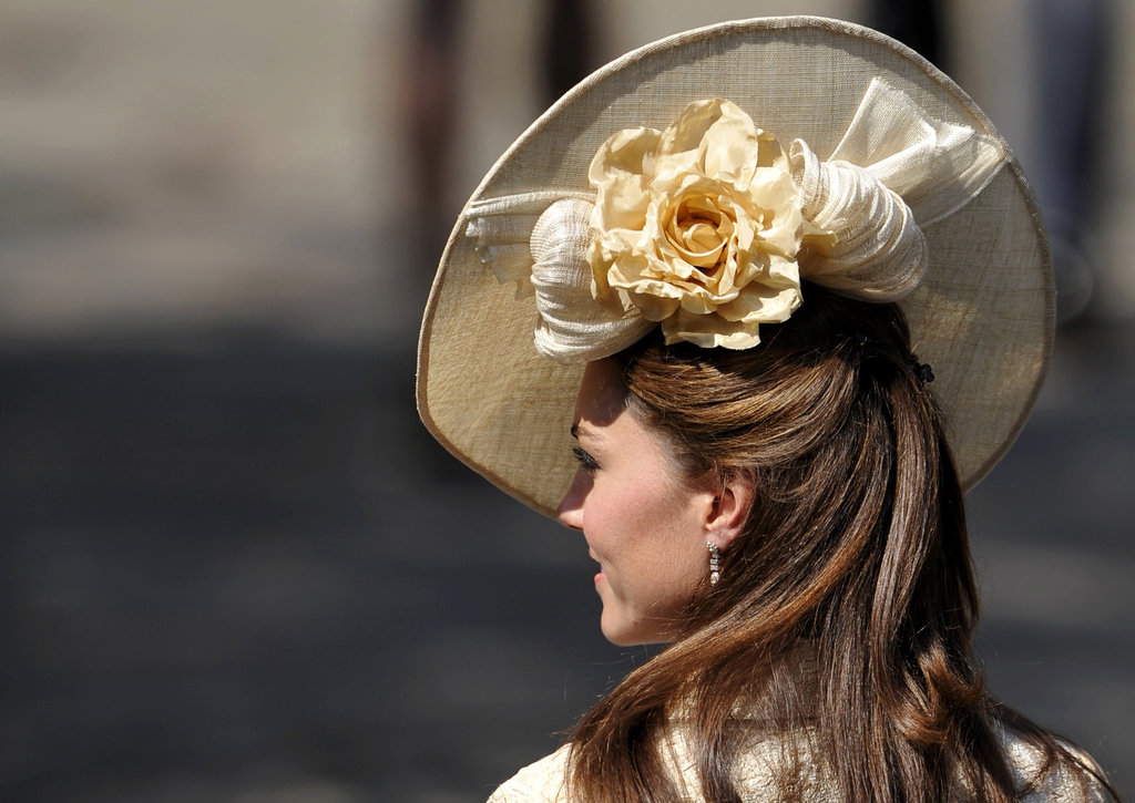 The elaborate floral detail on her Gina Foster hat.