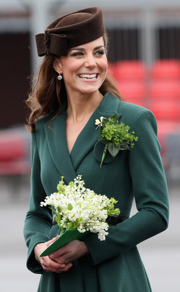 She looked adorable in a green Emilia Wickstead coat dress and brown hat on St. Patrick's Day.