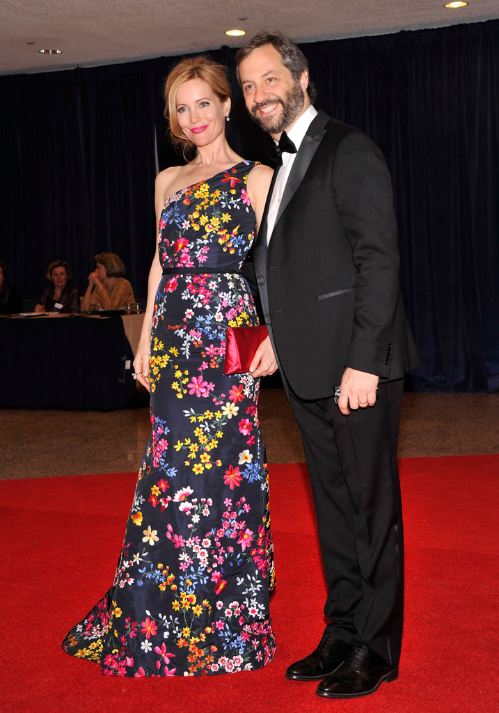 Judd Apatow and wife Leslie Mann posed together on the red carpet.