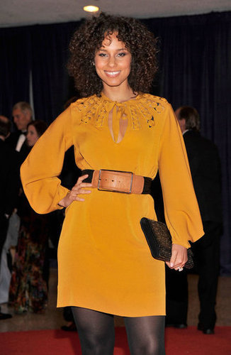Alicia Keys wore a bright yellow dress and tights.