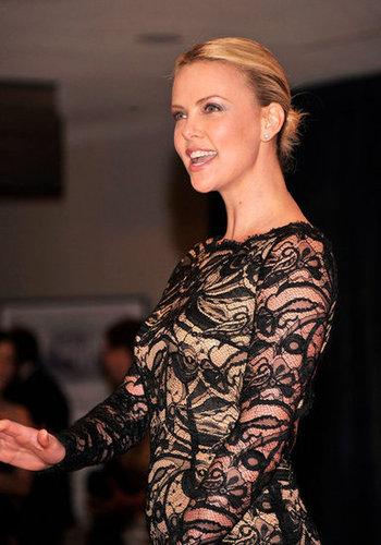 Charlize Theron looked elegant in black lace.