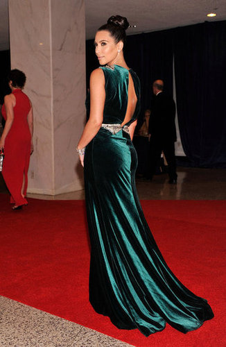 Kim Kardashian wore a long green dress to the White House Correspondant's Dinner.